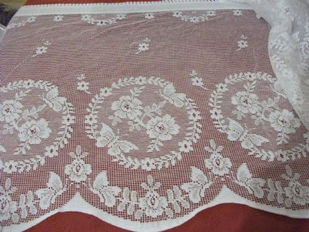 Vintage Cotton Ivory Cream Nottingham, Butterfly Garden Lace curtain 60cms drop